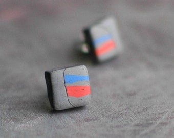 Collage earrings, orange and blue, art jewelry