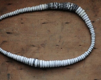 Echo white beaded statement necklace