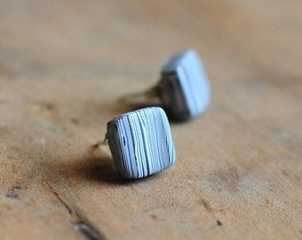 Grey Striped, earthy, clay earrings