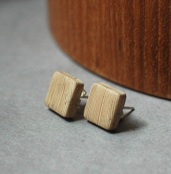 Minimal Rustic Square post earrings
