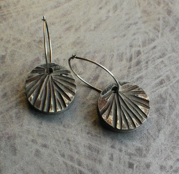 Frond carved earrings