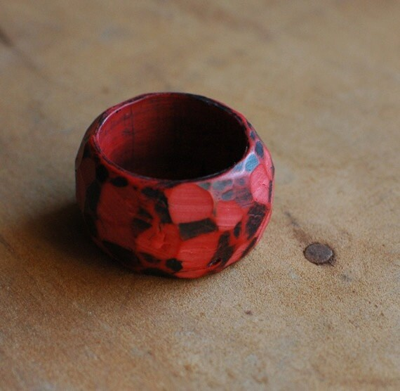 Fragment carved ring in Vermillion