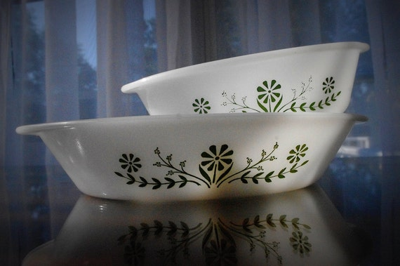 Glasbake Green Daisy Milk Glass Baking Dishes