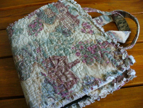 Quilted Book Cover Pattern Free : Rag quilted bible book cover cottage rose toile by