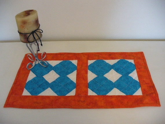 Snowball Pattern Patchwork Table Runner Quilted Teal Orange RQQ