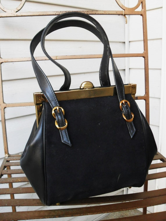 RESERVED  Vintage black suede and leather handbag with buckle detail