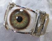 Hazel Glass Eye Silver Wire Wrap Ring ANY size