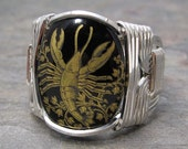 Cancer Zodiac Sign Glass Cabochon Sterling Silver Wire Wrapped Ring ANY size