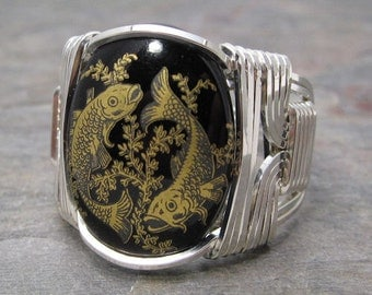 Pisces Zodiac Sign Glass Cabochon Sterling Silver Wire Wrapped Ring ANY size