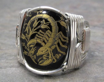 Scorpio Zodiac Sign Glass Cabochon Sterling Silver Wire Wrapped Ring ANY size