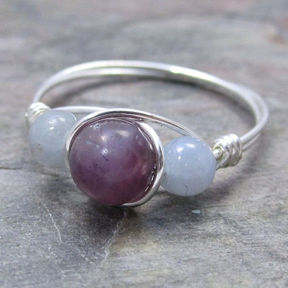 Lepidolite & Angelite Sterling Silver Wire Wrapped Ring ANY size