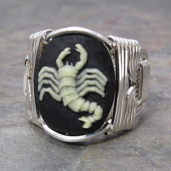 Scorpio Zodiac Sign Acrylic Cameo Sterling Silver Wire Wrapped Ring ANY size