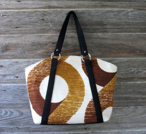 Vintage Brown Tote -  Carryall Market Bag - TWO HOLD