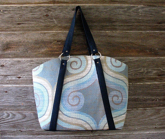 Blue Market Tote Bag - Carryall Purse  - TWO HOLD