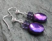 Grape Juice - Freshwater Pearl and Amethyst Earrings