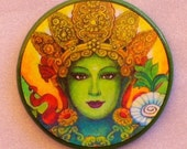 Green TARA FACE Talisman Amulet Witch Wicca Pagan Gothic