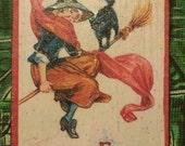 Vintage Halloween Flying Hag and Cat Postcard Decoration Ornament Miniature