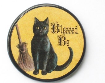 Vintage BLESSED BE Cat Talisman Amulet Witch Wicca Pagan