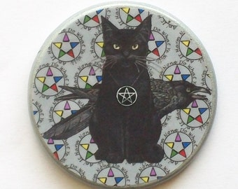 Pagan CAT and RAVEN Silver Harm None Talisman Amulet Witch Wicca