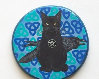 Pagan CAT and RAVEN Blue Triquetra Trinity Talisman Amulet Witch Wicca
