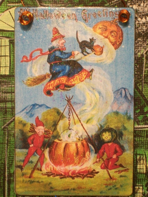Vintage Halloween Flying Witch Cauldron Brew Postcard Decoration Ornament Miniature