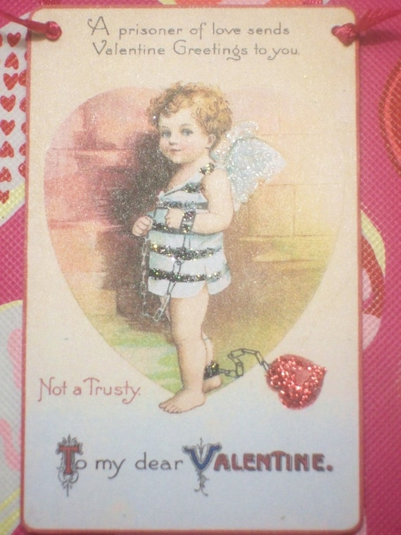 Vintage Prisoner of Love VALENTINE Postcard Decoration Ornament Miniature