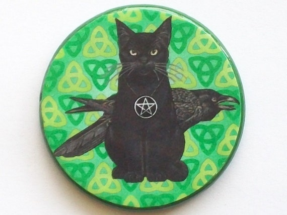Pagan CAT and RAVEN Green Triquetra Trinity Talisman Amulet Witch Wicca
