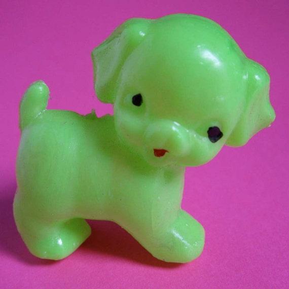 Puppy Love: Vintage Bright Green Plastic Toy Puppydog