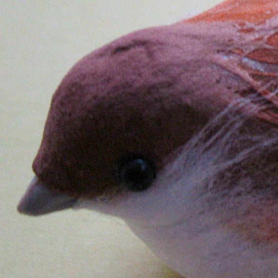 RESERVED for Rose-Marie Schneider: Charming Brown and Orange Bird, Spun Cotton with Real Feathers, 3 Dimensional Bird