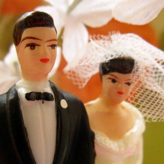 Vintage Bride and Groom Wedding Cake Topper, Plastic Kitsch for the Perfect Couple, Black Tux and White Lace