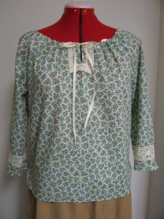 70s Peasant Style Shirt Blouse