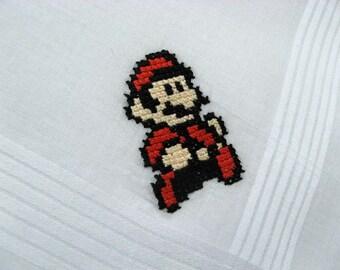 Super Mario handkerchief - Nintendo cross stitch - Made to Order