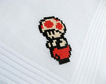 Cross stitch handkerchief - Nintendo Toad - Made To Order