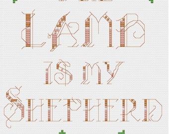 Pattern PDF cross stitch - Lamb Is My Shepherd - Instant Download
