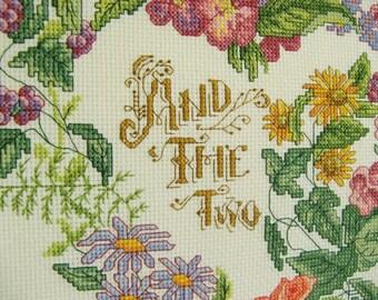 Wedding cross stitch sampler - Personalized framed