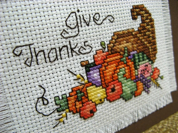 Reserved Thanksgiving Cross Stitch Give Thanks Made To