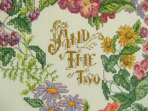 wedding cross stitch sampler personalized framed