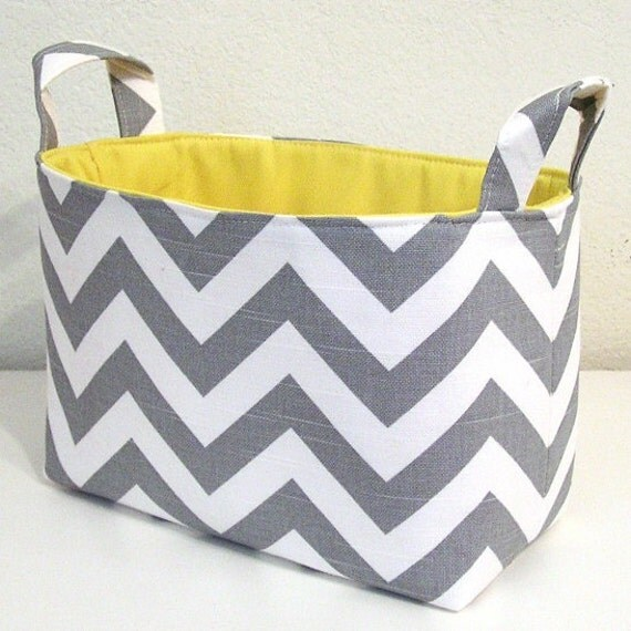 Chevron Gray White Slub Zig Zag Yellow Accent Fabric Organizer Bin Basket