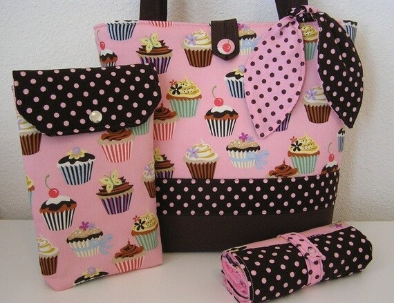 Adorable Cupcake Diaper Bag Tote Set with Changing Pad and Diaper Wipe Pouch Treasured Totes