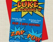 RESERVED listing - Printable signs to coordinate with Super Hero Birthday Party Invitations