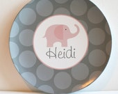 Elephant - Pink and Grey -   Personalized Melamine Plate - swankypress