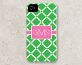 "personalized custom iPhone 5 cell phone case - ""green and pink lattice"""