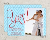 """save the date photo card modern announcement - """"yes with chevron stripes"""""""