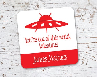 Valentine Stickers or Gift Tags . UFO Alien Invasion . for Favors, Treat Bags and Envelope Seals