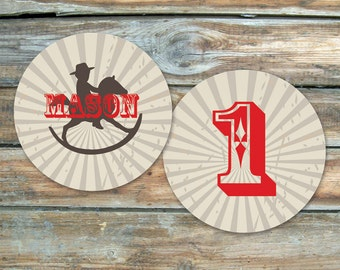 Cowboy Stickers - Rocking Horse Cowboy Stickers - for birthday or baby shower