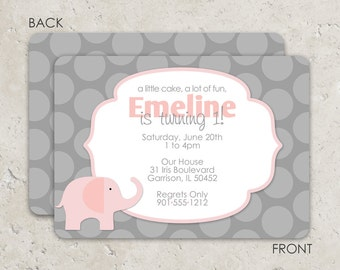 Pink and Gray Elephant Invitations - birthday or baby shower