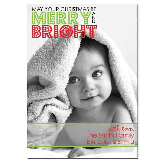Holiday / Christmas Photo Card Printable / Merry and Bright Design