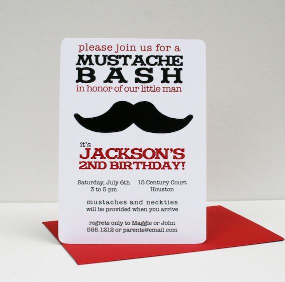 Mustache Bash Party Invitation