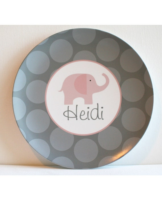 Elephant - Pink and Grey -   Personalized Melamine Plate