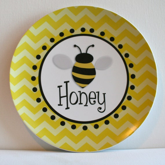 Personalized Melamine Plate - bee on yellow chevron
